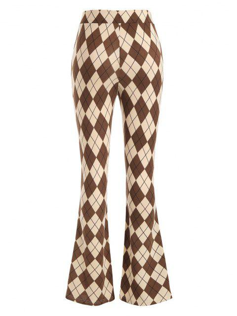 ladies Argyle Jersey Boot Cut Pants - LIGHT COFFEE M Mobile