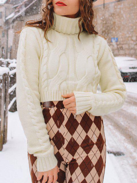 Rollkragen Geflochtener Crop Pullover - Weiß M Mobile