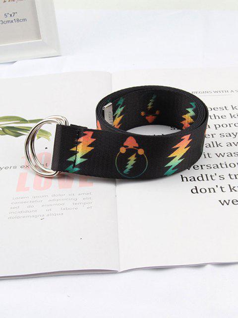 latest Canvas Printed Lightning Double Ring Belt - BLACK  Mobile