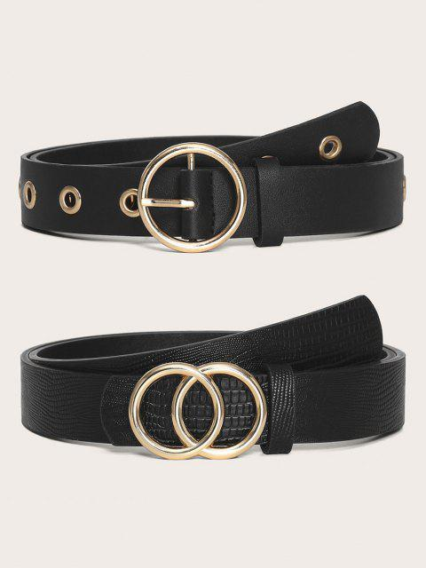 online 2Pcs Circle Buckle Belts Set - BLACK  Mobile