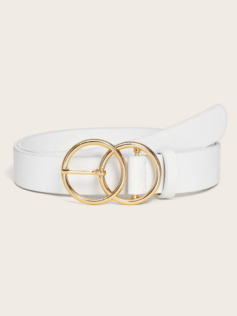 new Circular Pin Buckle Solid Belt - WHITE  Mobile