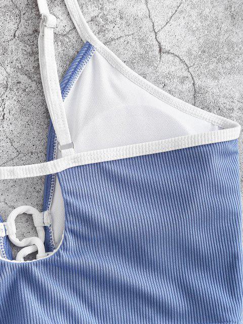 ZAFUL Haut de Maillot de Bain Contrasté Côtelé à Lacets - Bleu clair M Mobile