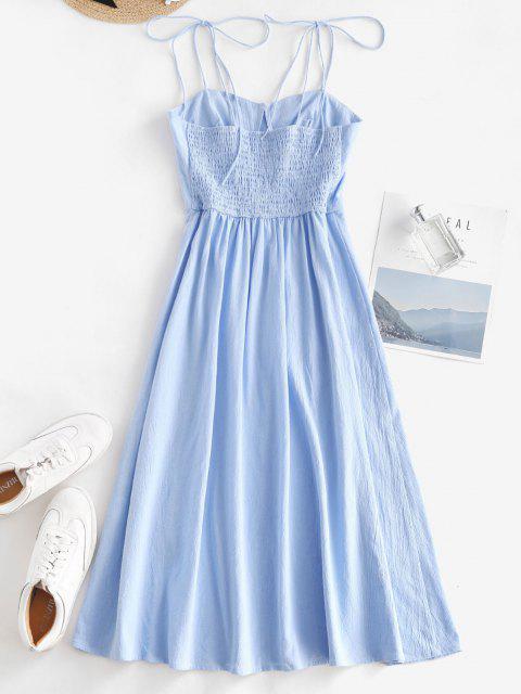 latest Tie Shoulder Shirred Back Split Hem Bustier Dress - LIGHT BLUE S Mobile