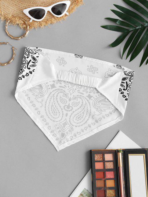 shop Strapless Paisley Print Elasticated Strap Bandana Top - WHITE S Mobile