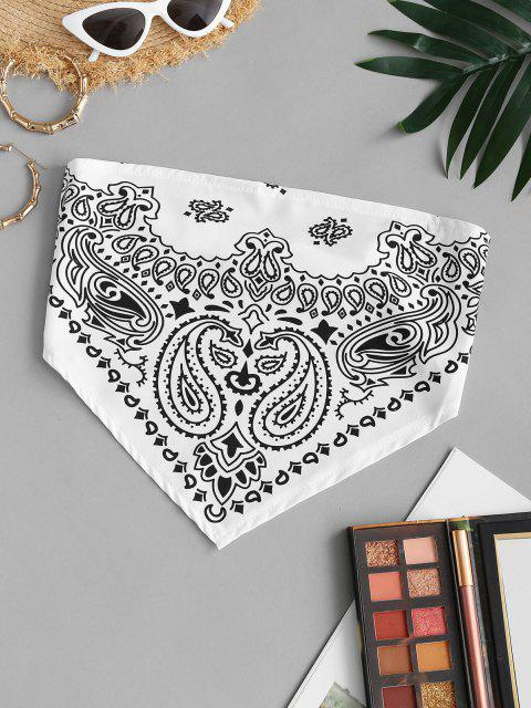 trendy Strapless Paisley Print Elasticated Strap Bandana Top - WHITE L Mobile