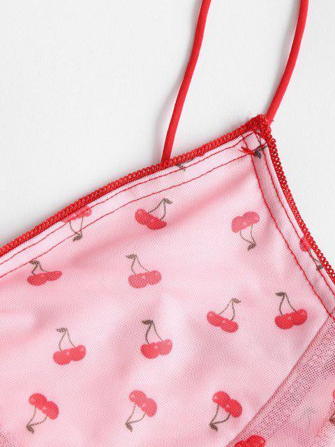 Cereja de Impressão Alface Guarnição Bandeau Camisole - Luz rosa S Mobile