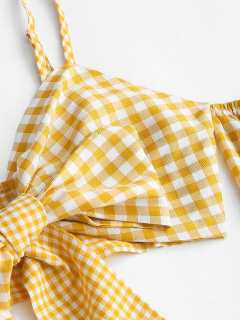latest Gingham Plaid Knotted Cold Shoulder Crop Top - YELLOW S Mobile