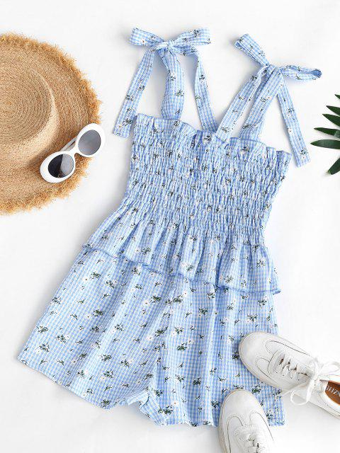 outfits Gingham Floral Tie Shoulder Smocked Peplum Romper - LIGHT BLUE S Mobile