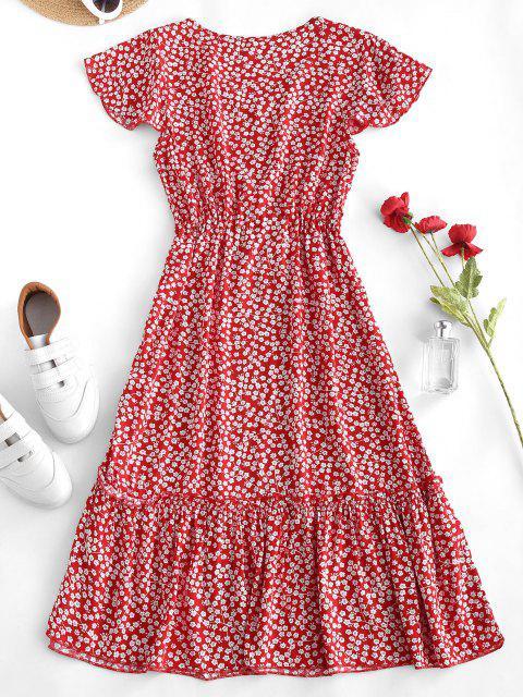trendy Ditsy Print Waist Drawstring Frilled Midi Dress - RED XL Mobile