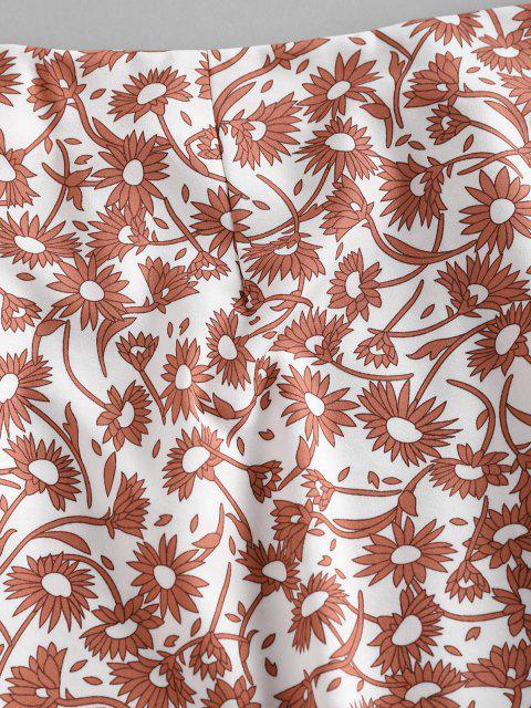 Jupe Courte Imprimée Florale à Fente Frontale - Blanc L Mobile