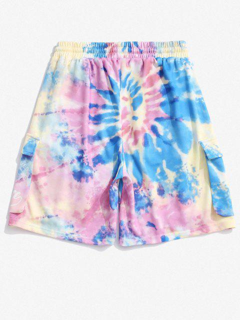 sale Letter Tie Dye Print Sweatshorts - MULTI 2XL Mobile