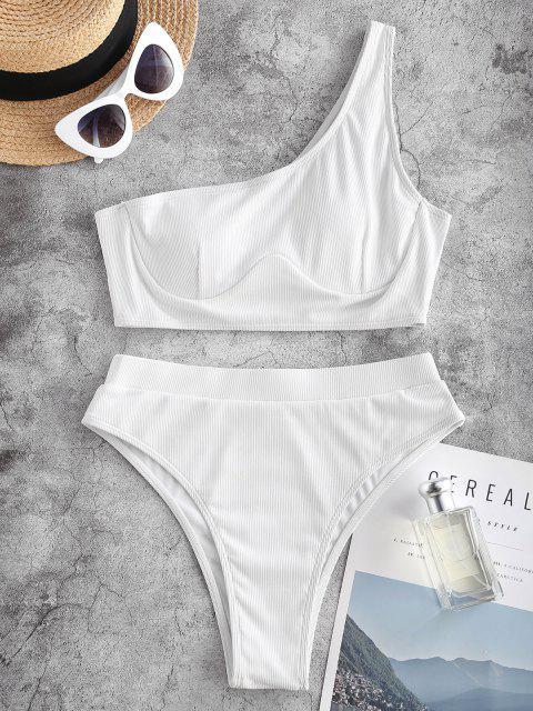 ZAFUL Gerippte Einziger Schulter Bügel Tankini Badebekleidung mit Hohem Bein - Weiß S Mobile