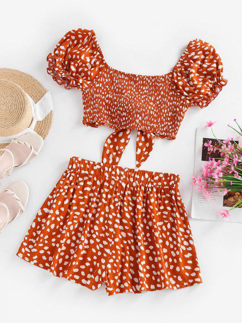 ZAFUL Dalmatian Print Tied Smocked Puff Sleeve Shorts Set - أحمر M Mobile