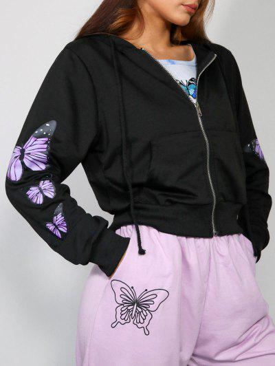 Pockets Zip Up Butterfly Hoodie - Black S