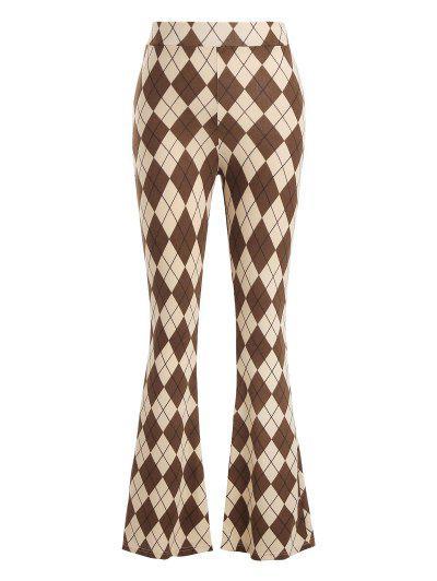 Pantalones De Botas De Argyle Jersey - Café Luz M