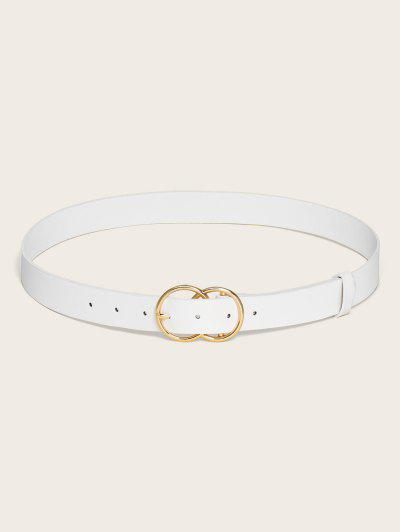 Circular Pin Buckle Solid Belt - White