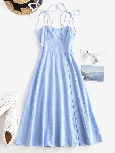 Tie Shoulder Shirred Back Split Hem Bustier Dress - Light Blue L
