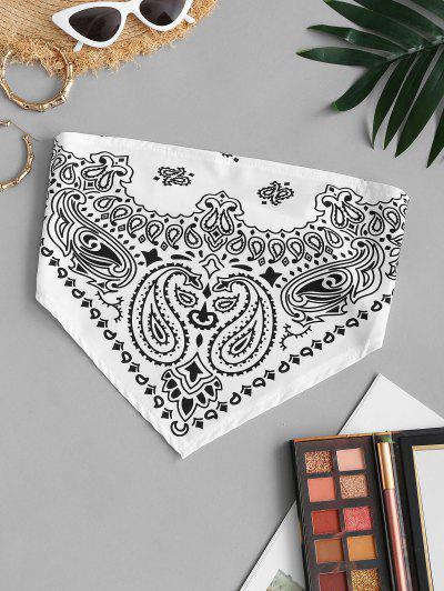 Strapless Paisley Print Elasticated Strap Bandana Top - White S
