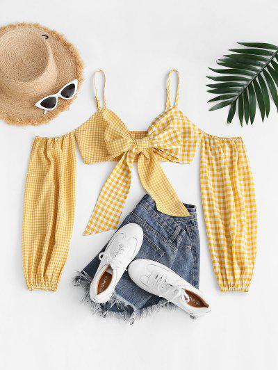 Gingham Plaid Knotted Cold Shoulder Crop Top - Yellow M