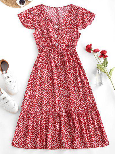 Ditsy Print Waist Drawstring Frilled Midi Dress - Red M