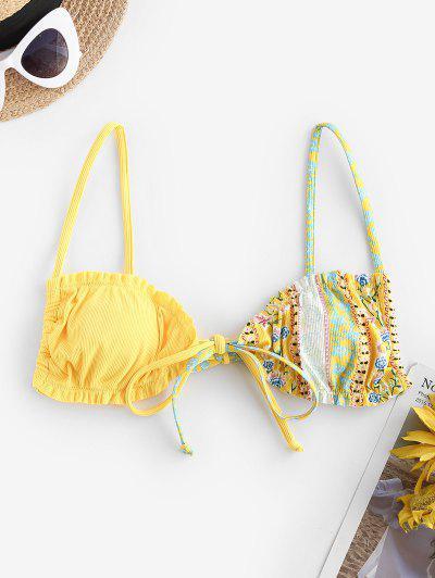 ZAFUL Bohemian Flower Ribbed Ruffle Tie Bikini Top - Yellow S
