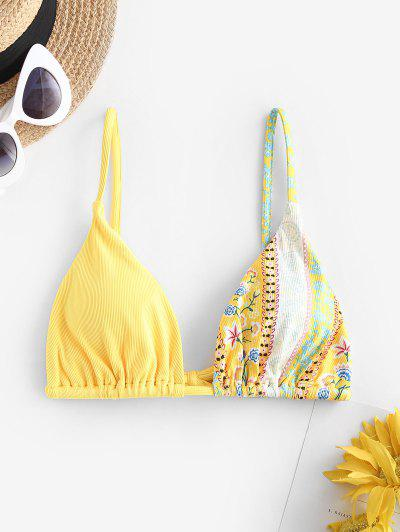 ZAFUL Bohemain Flower Ribbed Bikini Top - Yellow M