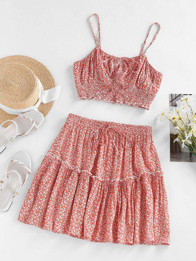 ZAFUL Ditsy Floral Ruched Smocked Two Piece Skirt Set - Light Pink M