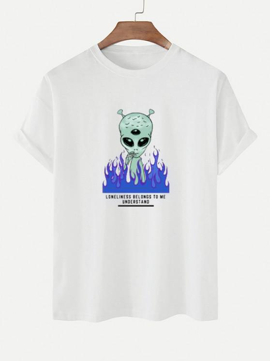fancy Funny Smoking ET Flame Print Basic T-shirt - WHITE M