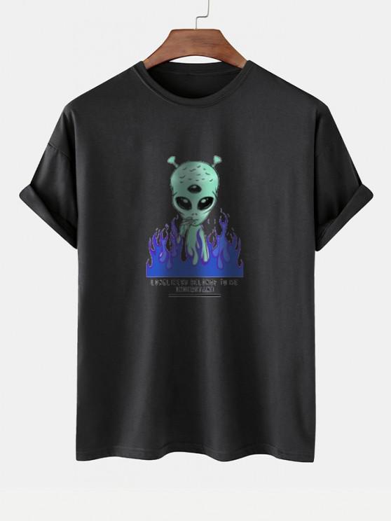 lady Funny Smoking ET Flame Print Basic T-shirt - BLACK M