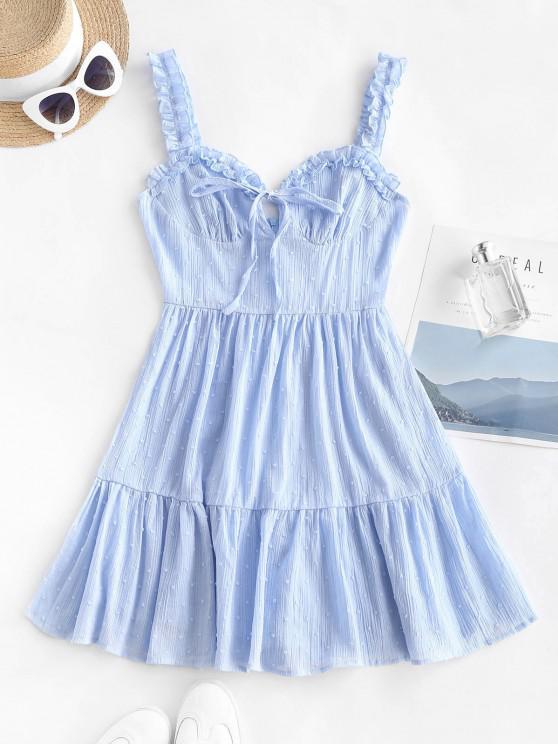 Vestido de Sol Dobladillo de Lunares con Volantes - Azul claro S