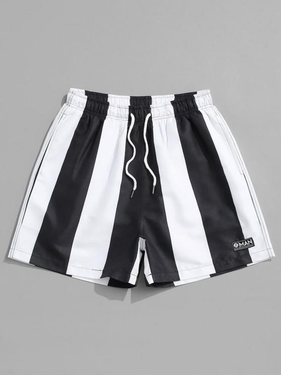 Pantaloncini Casual a Righe a Contrasto - Nero 2XL