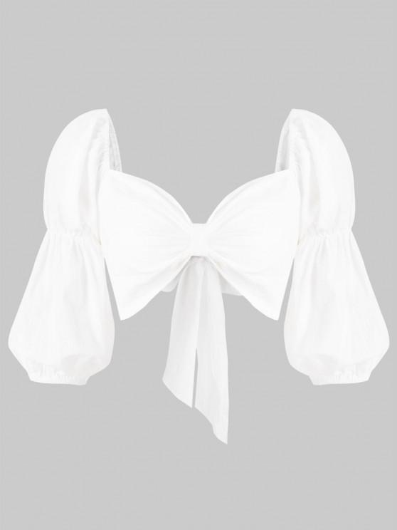 buy Sweetheart Neck Puff Sleeve Knotted Crop Blouse - WHITE M