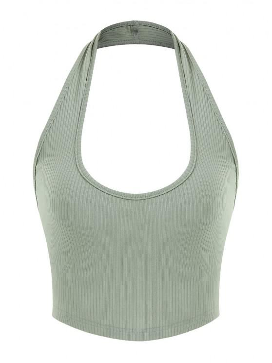 sale ZAFUL Ribbed Halter Backless Crop Top - LIGHT GREEN S