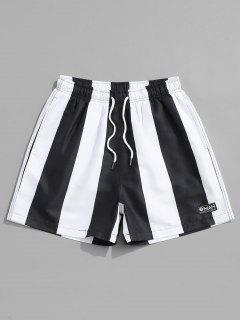 ストライプカジュアルショーツ巾着 - 黒 L