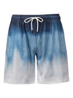 Ombre Print Casual Shorts - Blue Koi L