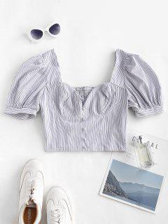 Striped Puff Sleeve Smocked Crop Blouse - White M