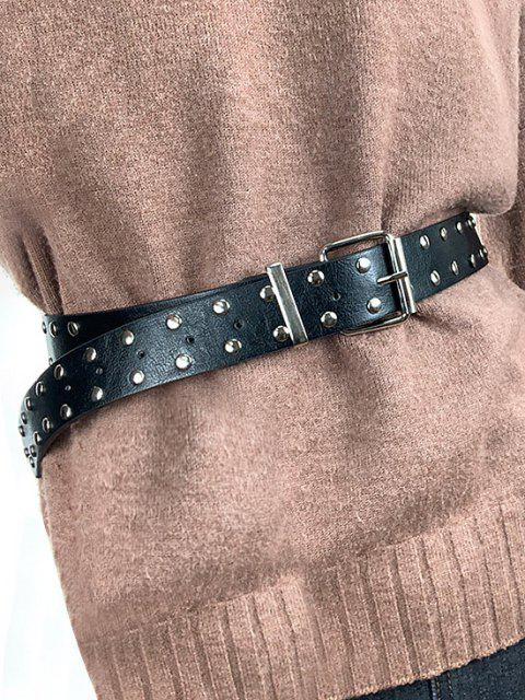 best Punk Rivet Pin Buckle Belt - BLACK  Mobile