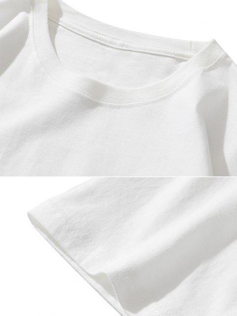 fashion Funny Smoking ET Flame Print Basic T-shirt - WHITE XXL Mobile