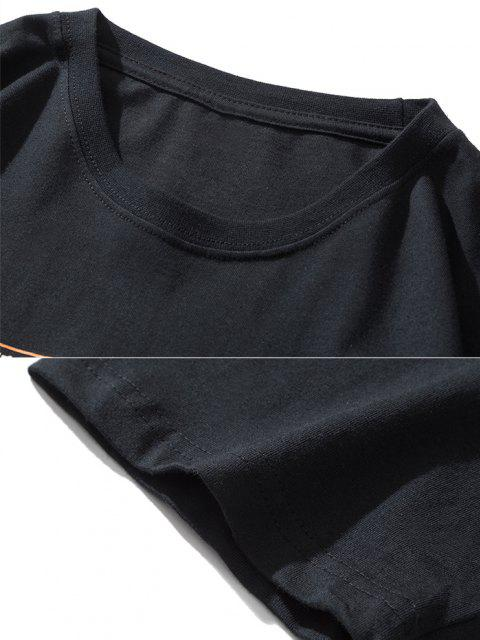 latest Funny Smoking ET Flame Print Basic T-shirt - BLACK L Mobile