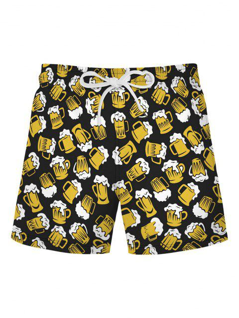 sale Beer Allover Print Shorts - YELLOW 2XL Mobile