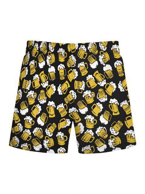 Beer Allover Print Shorts - الأصفر L Mobile