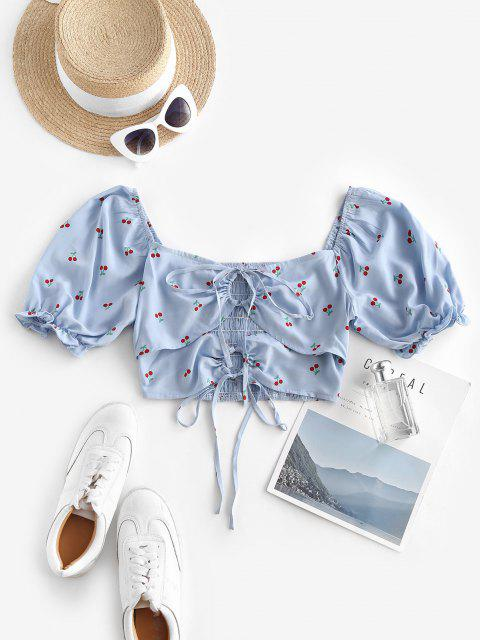 affordable Tie Cherry Print Puff Sleeve Milkmaid Blouse - LIGHT BLUE S Mobile