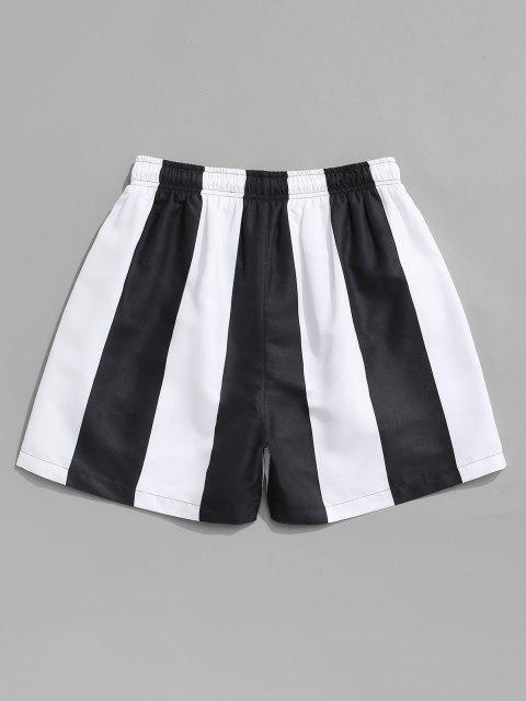 chic Contrast Stripe Casual Shorts - BLACK L Mobile