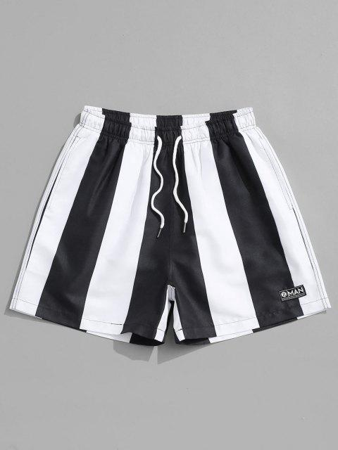 latest Contrast Stripe Casual Shorts - BLACK 2XL Mobile