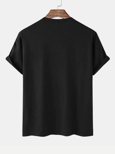 unique Everyone's Story Rose Print Short Sleeve T-shirt - BLACK L Mobile