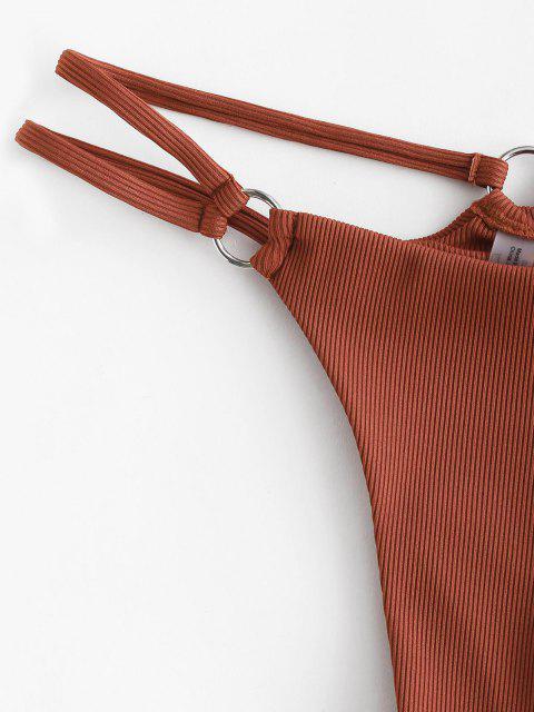 outfits ZAFUL Ribbed O Ring Strappy Tanga Bikini Bottom - DEEP COFFEE S Mobile