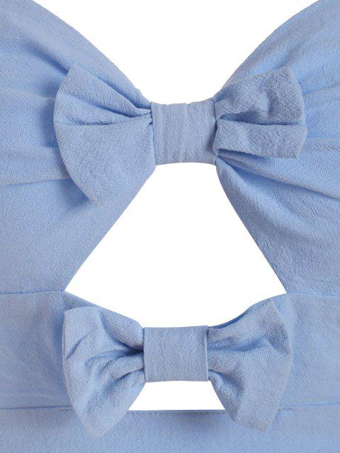 Haut Péplum à Bretelle Plissé avec Nœud Papillon - Bleu clair S Mobile