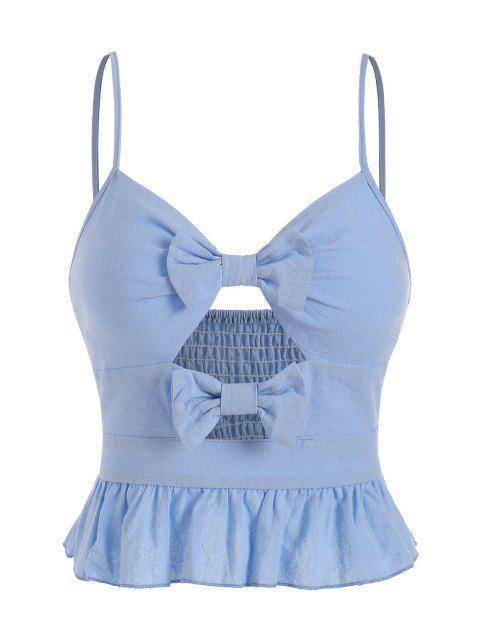 Haut Péplum à Bretelle Plissé avec Nœud Papillon - Bleu clair XL Mobile