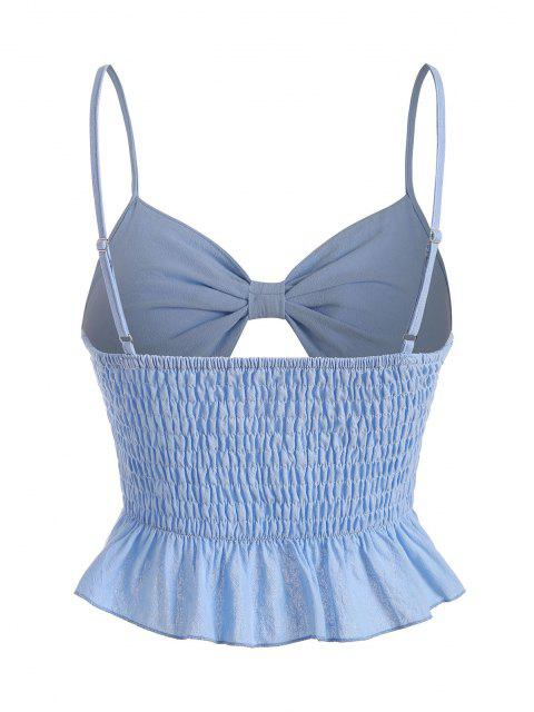 best Bowknot Smocked Crop Peplum Cami Top - LIGHT BLUE L Mobile