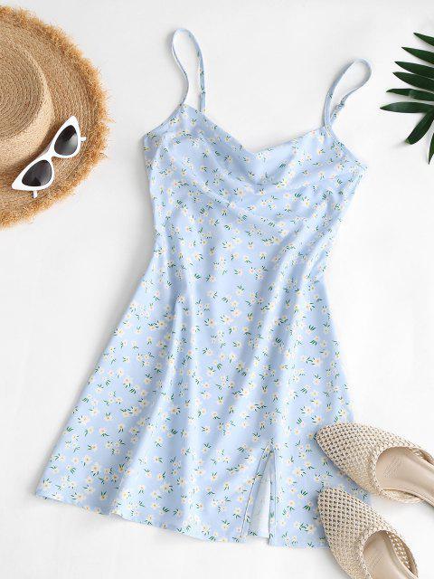 ZAFUL Blumendruck Kapuze Rückenfreies Kleid mit Kapuze - Hellblau M Mobile